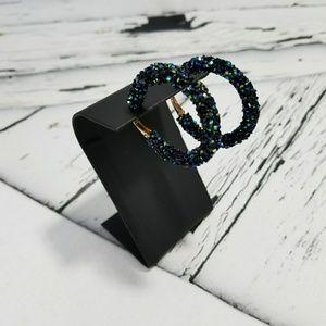 NWT Crushed Crystal Black Hoop Earrings